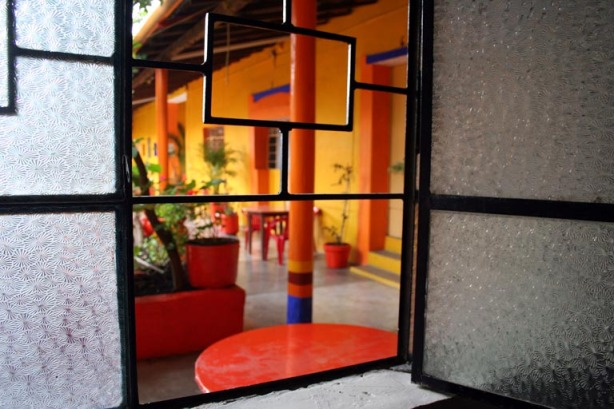 El Hotel Mexico in Tlaxiaco with its adorable, brightly painted patio.